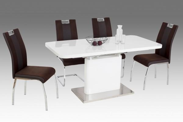 Esstisch / Andrea - Hochglanz weiß / 120 bis 160 cm