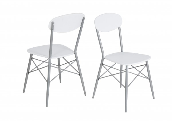 4-Fuß-Stuhl Lara / Weiß / Silber ( 4er Set )