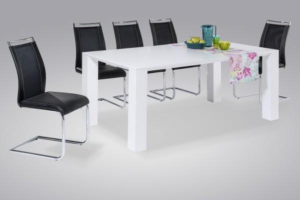 Esstisch / Madeira - Hochglanz weiß / 180 cm