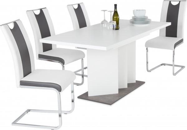 Esstisch / Scharlotte - Weiß / 120 bis 160 cm